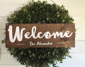 Welcome Sign, Welcome Door Sign, Personalized Sign, Family Name Sign, Hanging Welcome Sign, Personalized Wedding Gift, Front Door Sign