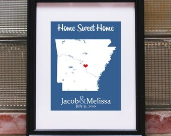 State Map with Heart, State Maps, Personalized Map Art, Personalized Map Print, Custom Map Wedding Art, Custom Map Art, Custom State Map Art