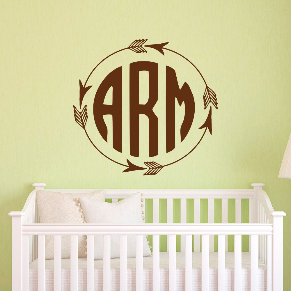rustic monogram wall decal arrow monogram decal by fabwalldecals. Black Bedroom Furniture Sets. Home Design Ideas