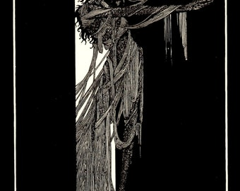 Harry Clarke Print, Form Tales Of Mystery and Imagination By Edgar Allen Poe, Circa 1919, Professionally Black Matted 8 x 10