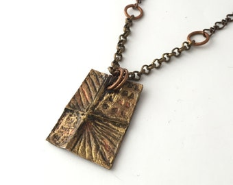 Bohemian Necklace-Artisan Pendant-Rustic Copper-Hammered Texture-Boho Jewelry-Artisan Necklace-Polymer Clay-Mixed Media Jewelry