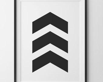 Black Chevrons Wall Art, 3 Chevron Geometric Black and White Chevron Home Decor, Black Arrow Chevron Print, Black Wall Art Digital Print