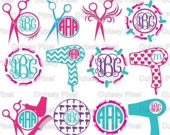 12 Hairdresser svg, Salon svg, Monogram Frames Svg cutting file, beauty salon svg, Cricut Design Space, Silhouette Studio, Digital Cut Files