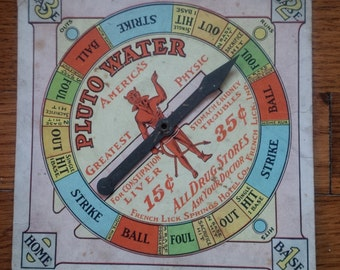 Vintage Advertising Pluto Water Grand-Stand Base Ball Spinner Game circa 1912