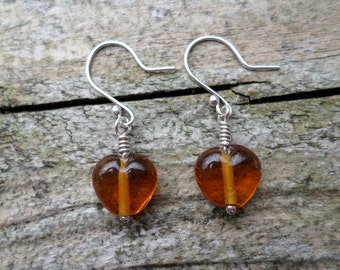 Amber Heart Indian Glass Beads On Sterling Silver Earrings