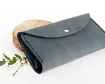 Grey-blue wallet, Leather wallet, Womens wallet, Wallets for women, Leather clutch, Women wallet, Women's wallet, Minimalist wallet,  Wallet