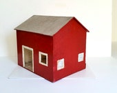Vintage Toy Barn . Large Antique Wood Barn . Handmade Folk Art . Home Decor . Red Farmhouse . Primitive Rustic Mid Century