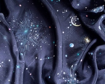 Silk scarf with moon and stars. Constellation scarf . Universe scarf. Midnight blue cosmos scarf.