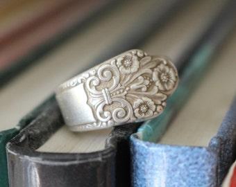 "Silver Spoon Ring - Size 7 - ""PRECIOUS"" -  1941 Pattern"