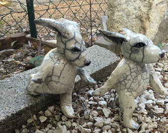 Ceramic raku rabbits in walk (couple)