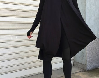 "Black Asymmetric Long Sleeve Tunic Top / Women Casual Hoodie Blouse / Long Sleeves Dressy Top / Casual Maxi Shirt Top - ""LAZY MOON"""