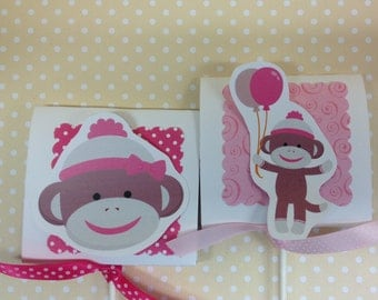 Pink Sock Monkey Party or Baby Shower Lollipop Favors - Set of 10