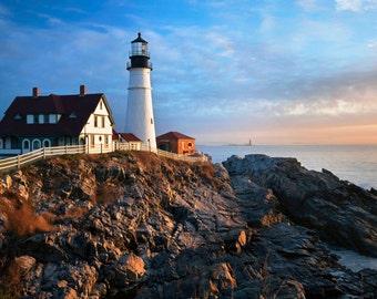 Fine Art Print, Portland Head Lighthouse, Maine, Seacoast Photography, Sunrise, Cape Elizabeth, New England, Nautical Home Decor