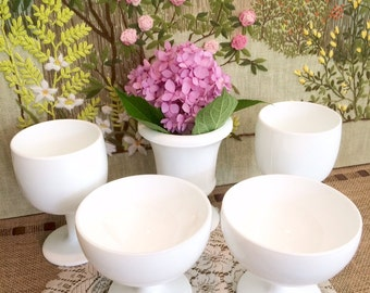 5 Milk Glass Vases Milk Glass Bowls Wedding Centerpiece Wedding Vases Mid Century Modern Vases Milk Glass Planter White Vases Candy Dish