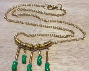 Handmade Statement Geek Chic Bib Necklace From Upcycled  Vintage Green Tantalum Capacitors and Gold Metalwork