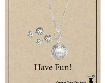 Sterling Silver Volleyball Pendant Necklace and Volleyball Post Earrings Set