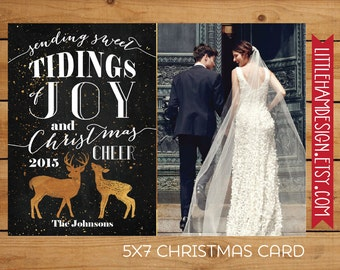 Photo Christmas Card, Gold Foil Deer & Chalkboard Holiday Card, Tidings of Joy and Christmas Cheer, Printable Seasonal Card [digital 5x7]