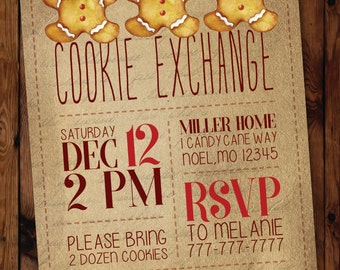 Christmas Cookie Exchange Invitation, Holiday Cookie Exchange Invitation, Cookie Swap Invitation #003