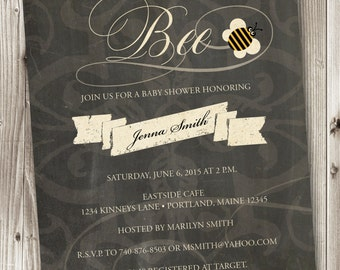 Bumble Bee Baby Shower, Bee Invitation, Baby Bee Invitation, Bee Shower Invite, Bumble Bee Invitation, Bee Invite, Mommy to Bee Invitation