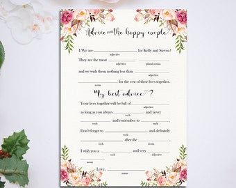 PERSONALIZED Printable 5x7 Anniversary wishes Mad Lib Wedding Advice Cards Mad Libs  Wedding Day Reception DIY Wedding Pink floral - PF-18