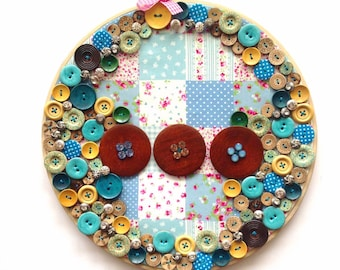 Framed embroidery hoop Art with floral fabric and buttons decor