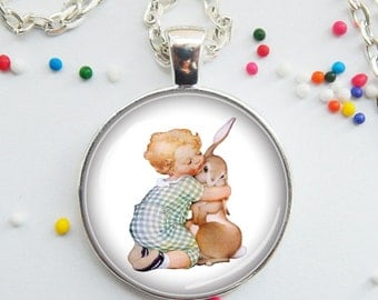 DISCONTINUED! Baby and Bunny Vintage pendant, Easter jewelry, animal necklace, bunny jewelry, charm, Easter bunny