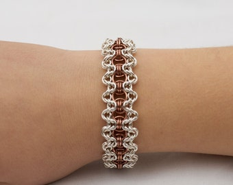 Bracelet in sterling silver and copper