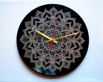 Mandala Clock Record Clock Hand Painted Clock Wall Clock Vinyl Clock Home Decor Unique Clock Recycled Vinyl Geometric Clock Client Gifts