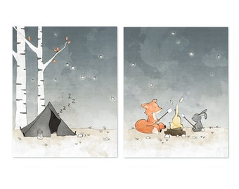 Fox and Rabbit Camping Art Prints - Set of 2