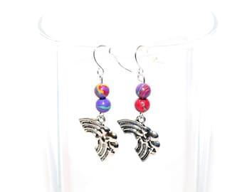 Silver Rainbow Charm Earrings - Pewter Charm Earrings - Rainbow Earrings
