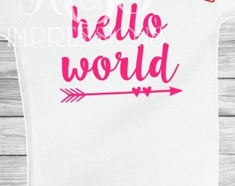FREE SHIPPING! Hello World Cute Onesie Bodysuit for Infants and Newborns