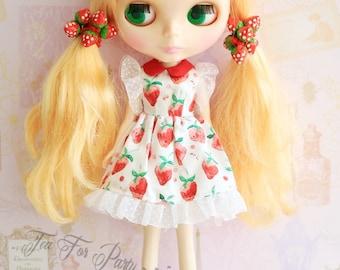 Blythe One Piece Dress, Blythe strawberry dress, Blythe outfit, Blythe fashion, Blythe mori girl dress, Blythe dress, Handmade dress
