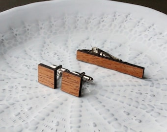 Mahogany Cufflinks & Tie Clip Set