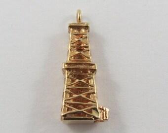Oil Rig 14K Gold Vintage Charm For Bracelet