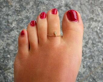 Diamond Drop Toe Ring or fingerring /  Beach Wedding
