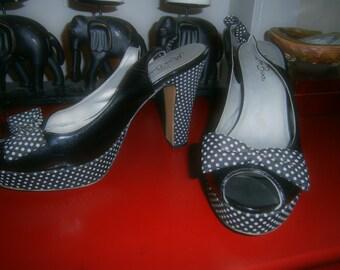 Women's Heels -Size 10M - Black and White Polka Dot Bows
