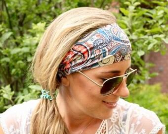 Paisley Desert Yoga Headband, Workout Headband, Best selling Item, Running Headbands, boho headband, womens headband, turban headband wide