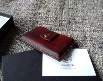SNAP Slim leather card wallet, business card holder 'Chocolate'