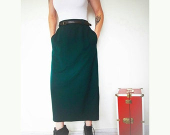 vintage 90u0027s liz claiborne wool high waist long skirt with pleats and pockets long forest