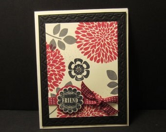 Raspberry Flower Burst Card