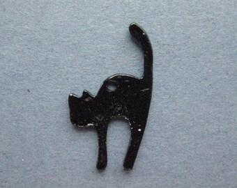 5 Cat Charms - Cat Pendants - Halloween Charm - Enamel Cat Charm - Black Cat Charm - Silver Tone - 27mm x 17mm -- (No.61-12117)