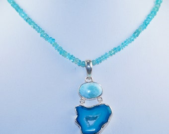 Blue Druzy with Larimar & Aquamarine Sterling Silver Necklace