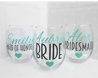 SET OF 4, bridesmaids cups, bachelorette cups, wedding cups, initial wine glasses, custom wine glass, custom wedding gift, bachelorette cup