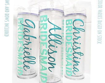 10 Custom skinny tumblers, bridal set, personalized cups, bridal shower gift, wedding gift, wedding favors, bridesmaids gift, plastic cups