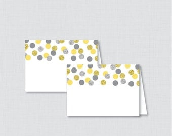 Printable Yellow and Silver Bridal Shower Food Tent Cards - Yellow and Gray Glitter Bridal Shower Food Labels OR Place Cards - 0001-Y
