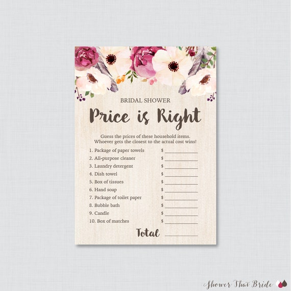 Boho bridal shower price is right game printable bohemian for Price is right bridal shower game template