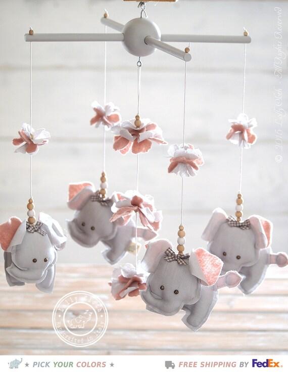 grey pink nursery mobile elephant grey pink by lollycloth. Black Bedroom Furniture Sets. Home Design Ideas