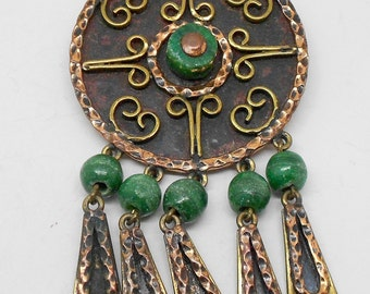 PRICE REDUCED! Unusual Rare Vintage Copper/Brass Brooch with dangling glass beads-Signed Maya Mexico