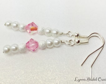Pink Crystal Wedding Earrings Pink Bridal Jewellery Pink White Wedding Party Gift Pink Bridesmaid Dangles Mother of the Bride Gift