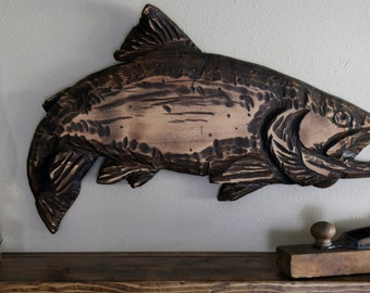 Rustic Wood Trout Wall Hanging, Rainbow Trout, Rustic Decor, Wildlife Decor, Montana Art, Fly Fishing Art